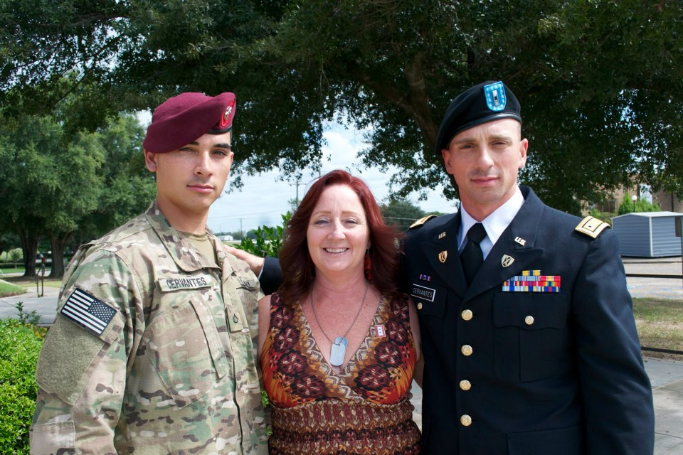 MSW@USC student Shawn Cervantes with her sons, Spc. Keaton Cervantes (left) and Warrant Officer Zachary Cervantes.
