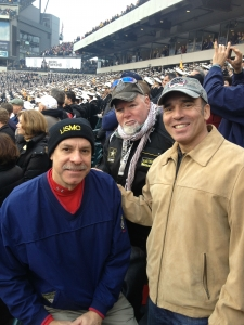 Anthony Hassan takes in the Army-Navy game with Steve Robinson, center, and Ray Weeks, of Prudential Veterans Initiatives. (Courtesy Anthony Hassan/2013)