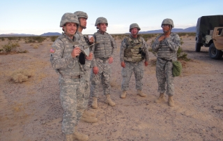 Chaplain Nathan Graeser, MSW '13, during a training with members of the California National Guard 1-144th Field Artillery Battalion in Ft. Irwin, California. (Photo courtesy/Nathan Graeser)