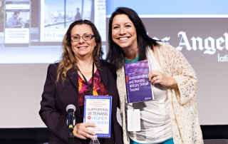 Kristen Zaleski (right), USC Social Work clinical assistant professor, promotes her new book during the 2015 Los Angeles Times Festival of Books.