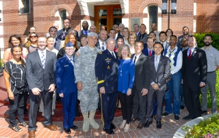 Gen. Martin Dempsey, chairman of the Joint Chiefs, visits with key leaders from the Los Angeles Veterans Collaborative during a March 2015 visit to USC.